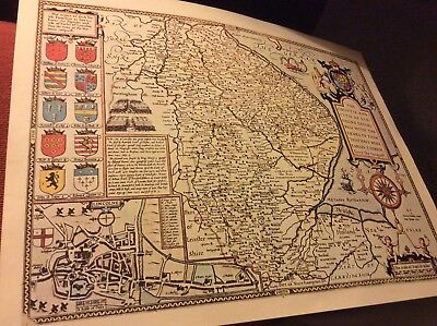 Lyncolne   Replica Of Map By John Speed 1610-11 Antique Maps Of Britain No.35