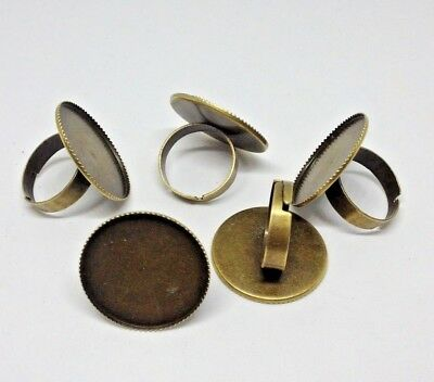 5 x Bronze Plated Ring Blanks - 25 mm Bezel / Tray