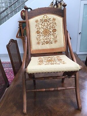 SALE Arts & Crafts Movement Antique Needlepoint Hand Carved Folding Chair Beauti