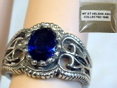 BLUE HELENITE ANTIQUE 925 STERLING SILVER RING SIZE 7.5 plus 1980 VOLCANIC ASH
