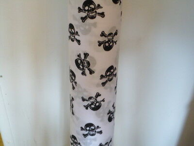 Skulls Bones Polycotton Fabric Material Gothic Pirate Black Red White Skeleton