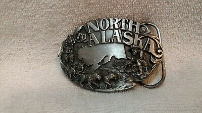 North to Alaska Siskiyou Belt Buckle Y-23 Made in USA Excellent 1984 Gold Rush