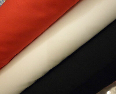 """Plain polycotton fabric red black white 45"""" sold by metre"""