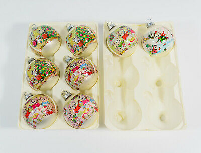 8 VTG Corning Glass Wrapped Mice Mouse Scene Christmas Tree Ball Ornaments