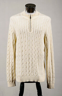 Lyle & Scott Scotland White 100% Combed Cotton Cable Knit Half Zip Sweater Sz L