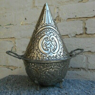 Antique Silver Metal Persian Islamic Lidded Bowl Incense Burner Signed
