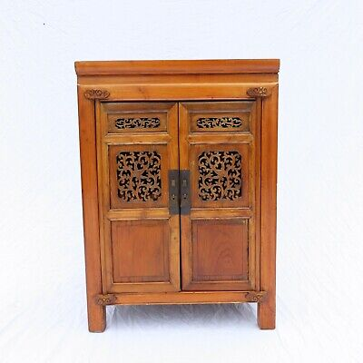 Antique Chinese Cabinet All Pegged Aged Beautifully Carved Doors Nice Size