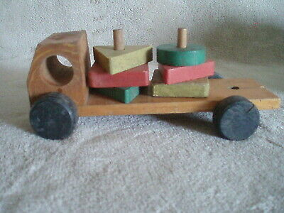1940s Vintage Arts & Crafts Home / Hand Made Child's Wooden Toy Truck w/Shapes