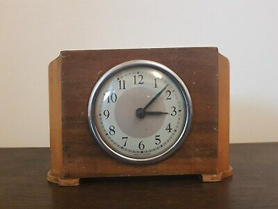 Small Wooden English Vintage Mantle Clock - Dated 1949? - Working Order
