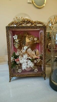 French Antique Decorative Wedding Casket Display Case Glass Gilt Mirror Flowers