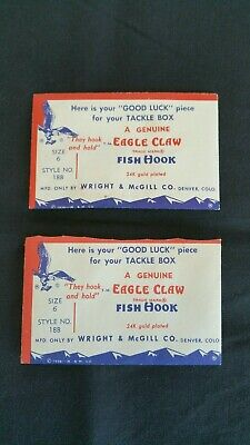 w// Advertising Lot of 2 Vintage NEW Eagle Claw Hook by Wright /& McGill Co