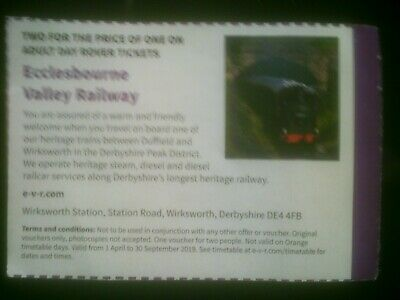 Ecclesbourne valley railway voucher 2 for 1 adm adult day rover save up to £14.5
