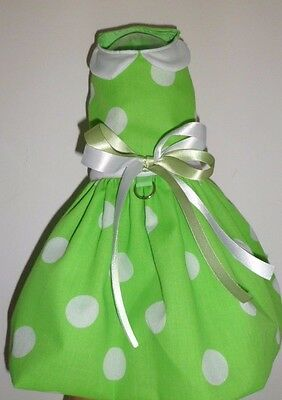 Dog dress green dots for small dog chihuahua, toy breed, dachshund XXS-M