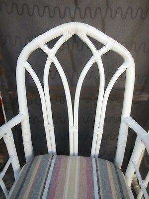 PAIR Cathedral Wicker Arm Chairs Regency Bamboo Dining McGuire STY Rattan 2 MCM