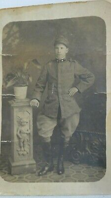 Vintage Antique US World War 1 Cabinet Photo Real Photograph Equestrian Soldier