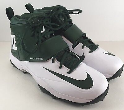 adb19019bd5 Nike Flywire Lineman 3 4 Football Cleats SZ 14 Green White Men 603350-131