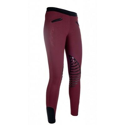 HKM Starlight Pull on Comfy Riding Leggings/Tights - deep red