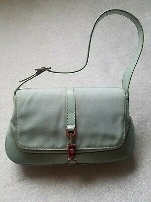 d442aeec38f Authentic GUCCI 001・3824 001998 GG Canvas leather Jackie Shoulder Bag Green  EUC