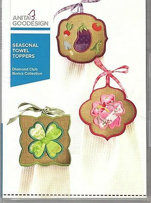 Towel Toppers In the hoop machine embroidery cd Anita Goodesign NEW EASY