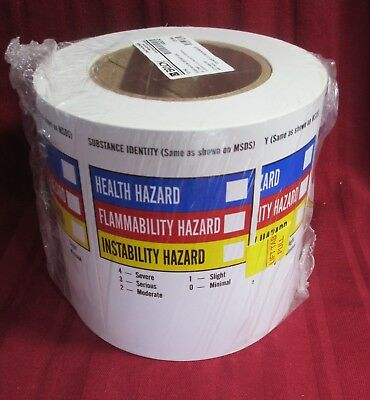 Vinyl Label Hazard Write-On Container Msds Safety Brady 121164 500 Roll Labels
