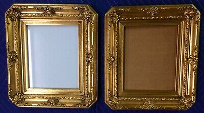 Almost Matching Pair of Vintage Handmade Ornate Wood Gesso Gilt Picture Frames