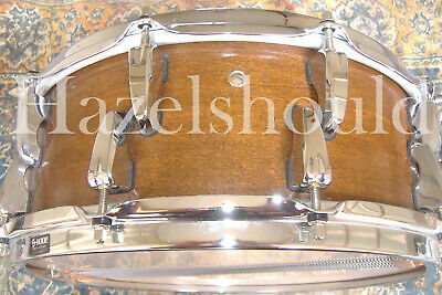 SOUNDFILE! DARK! EARLY CHRIS HEUER ALL MAPLE 5.5X14 Snare! WALNUT FINISH CLEAN!