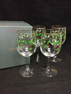 Lenox Holiday Holy Wine Glass/ Footed Goblet Set of 4 W/ Gold Rim & Original Box
