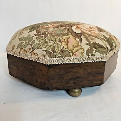 Victorian Wooden Footstool Octagonal Brass Feet Recovered Fabric Top 11cm High