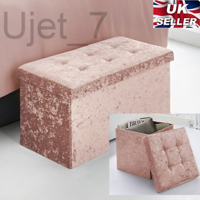 Crushed Velvet Fabric Storage Ottoman Seat Box Pouffee Foot Stool Blush Pink NEW