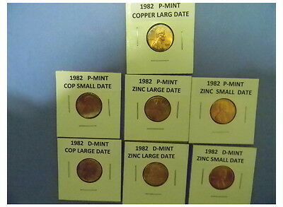 1982 P&d Lincoln Cent 7 Bu Coin Set Copper & Zinc Lg&sm Dates Plus 2019 P & D #8