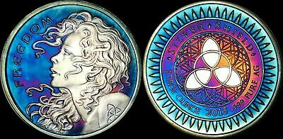 2015 BULLET/SHIELD FREEDOM COIN 1 TROY OZ .999 PURE SILVER Deep Multicolor Toned