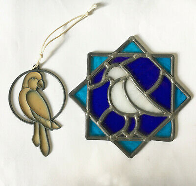 2 vintage STAINED GLASS ART DOOR PANEL artisan BIRD SUNCATCHER parrot DECORATION