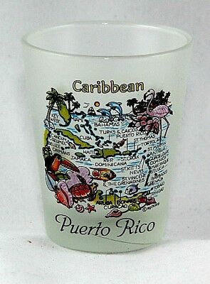 Puerto Rico Caribbean Map Frosted Shot Glass Shotglass