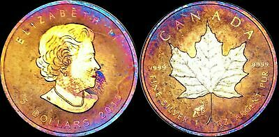 2015 CANADA ELIZABETH II FIVE DOLLARS FINE SILVER Maple Leaf Multicolor Toned