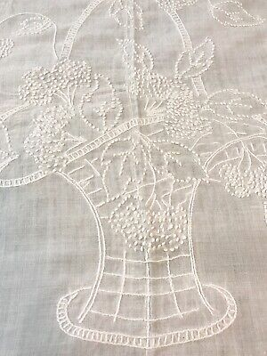 Vintage Country Farmhouse White Linen Summer Bed Coverlet, Bedspread, Linen