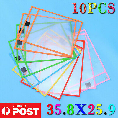 10PC Dry Erase Pocket Sleeves Write and Wipe Pockets Paper Saver Tool for Kids A