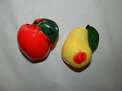 Vintage Red Apple & Yellow Pear Wall Pockets