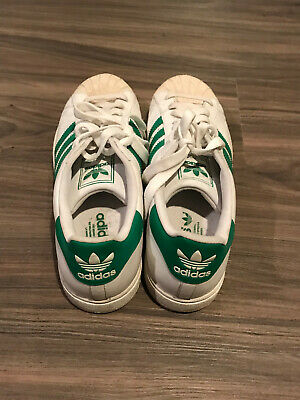 best service 7964b e9b91 MENS ADIDAS SUPERSTAR Shell Toe White/Green Stripes MEN'S SIZE 11.5 Used