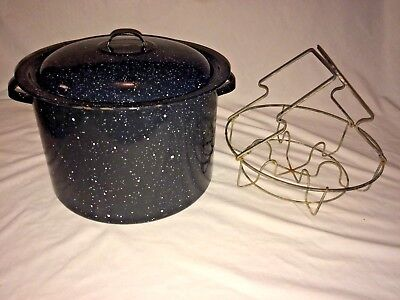 Vtg Black Speckled Enamelware~Canning Pot With Wire Rac 11 Inch~Graniteware