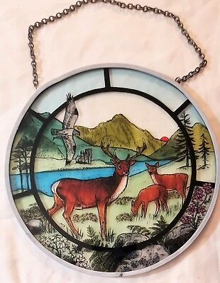 HIGHLAND SCENE SUN CATCHER BY DECORATIVE STAINED GLASS Made In Scotland 7 ½""