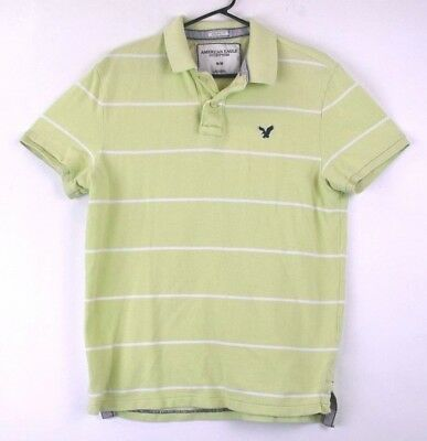 7f2d84e6 American Eagle Outfitters Men's Medium Green/White Stripped Athletic Fit  Polo