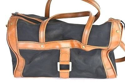 Vintage Skyway Luggage Duffle Bag Carry-on Overnight Black w/ Brown Leather