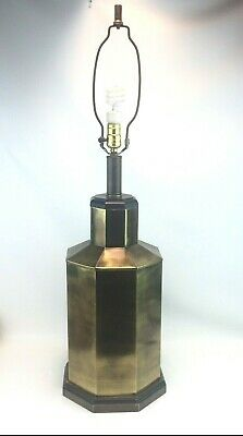 Large Mid Century Octagon Brass Lamp Barrel Lamp 26.5' Tall