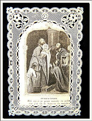 """ANTIQUE 1880's """" PURIFICATION - LOVE of JESUS """" FRENCH CANIVET LACE HOLY CARD !"""