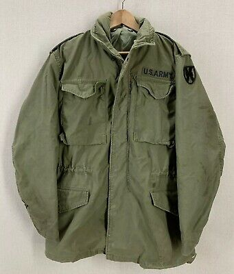 Vintage 1974 US Military Army M65 Olive Green Field Jacket Sz Small Long