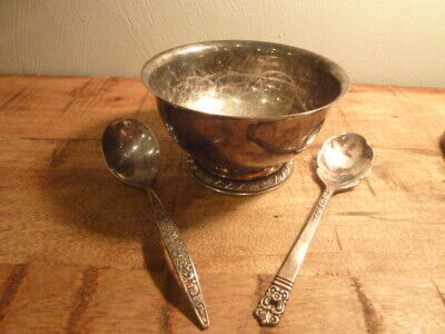 Antique Silver Plate Metal Soup Cereal Bowl 2 Spoons Community & Rogers Vintage