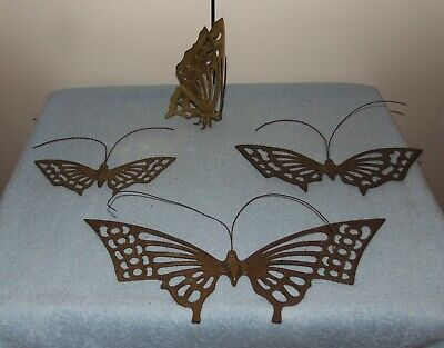 Vintage Set of 3 Wall Decor Hangings Solid Brass  Butterflies