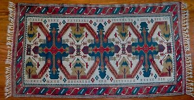 """Old Persian Rug Hand Knotted Wool Vegetable Dye Tribal 7' x 3' 5"""""""