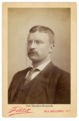 COLONEL THEODORE ROOSEVELT Photograph Autograph Reprint RP Cabinet Card CDV