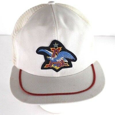 15378c91ad57a Vintage Rare Anheuser Busch Patch Logo Mesh Trucker Hat Snapback USA Made